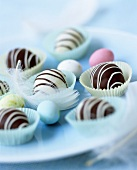 Egg-shaped chocolate truffles
