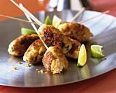 Minced chicken and coriander kebabs