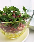 Sheep's cheese and pomegranate salad with parsley