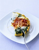 Spinach omelette with ham