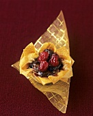 Filo pastry shell with cranberry filling
