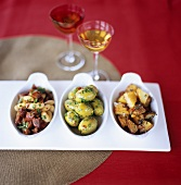 Tapas tableau: beans with chorizo, olives & fried potatoes
