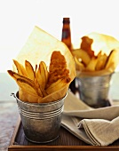 Fish and chips in small buckets