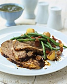 Lamb with mint sauce and green beans