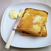 Slices of buttered toast