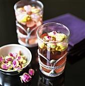 Tea with rosebuds