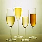 White wine glasses and champagne glass