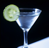 Gimlet with slice of cucumber