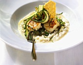 Scallops with green asparagus and risotto rice