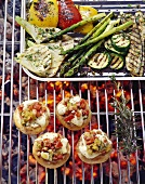 Vegetables and stuffed mushrooms on the barbecue