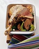Leg of lamb in a roasting dish