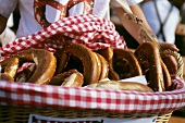 Giant pretzels in bread basket at a fair