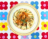 Ribbon pasta with paprika chicken
