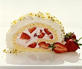 A piece of strawberry roulade