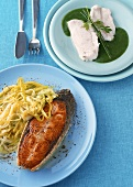 Salmon with leeks and zander on creamed potato with herbs