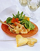 Shrimps with watercress salad and heart-shaped toast