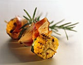 Vegetable kebab with corncobs and rosemary