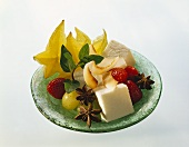 Plate of fruit with coconut jelly