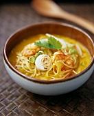 Laksa (shrimp soup with noodles from Singapore)