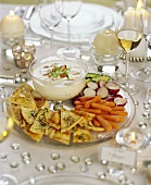 Festive table with shrimp dip
