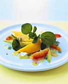 Avocado with yellow beet and grapefruit