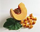 Pumpkin wedge, diced pumpkin and pumpkin leaf