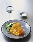 Deep-fried haddock with cucumber