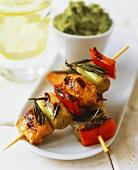 Barbecued salmon and leek kebabs