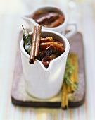 Plum chutney with onions, cinnamon and bay leaves