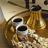 Two cups of Turkish coffee on a tray