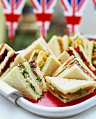 Assorted sandwiches, Union Jacks in background