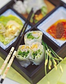 Lucky rolls (rice paper rolls with vegetables, Vietnam)