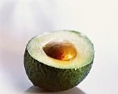 An avocado, cut open
