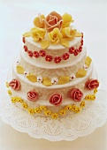 A celebration cake with marzipan roses