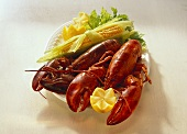 Cooked lobster with corncob