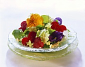 Salad with beetroot hearts and flowers