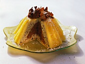 Zuccotto (Chilled dome cake with apricot glaze)