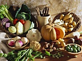 Still life with autumn and winter vegetables