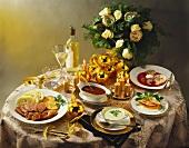 Christmas meal on festive table