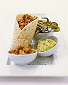 Wrap with mince filling; accompaniments