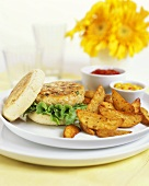 Chicken burgers with potato wedges