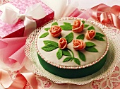 Birthday cake with marzipan roses