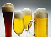 Drei Gläser helles Bier und ein Glas dunkles Bier
