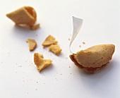 Fortune cookie, broken open