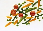 Peas, green beans, cherry tomatoes and baby carrots