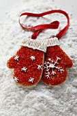 Decorated biscuits in shape of gloves (tree ornaments)