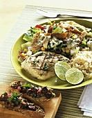 Grilled mahi mahi (dolphin fish) and beetroot bruschetta