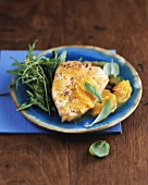 Halibut with oranges and rocket