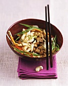 Fried tofu with sherry and cashew nuts