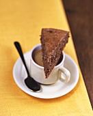 Espresso chocolate cake on espresso cup